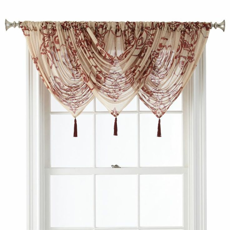 Jcpenney royal velvet 174 ardesia rod pocket sheer waterfall valance