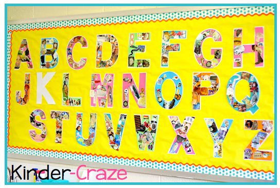 Alphabet wall bulletin board bulletin boards pinterest for Letters for bulletin boards templates