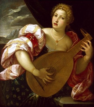 Parrasio Micheli (1516-1578) - Young Woman playing a Lute, 16th century ca. 1570 - Venice