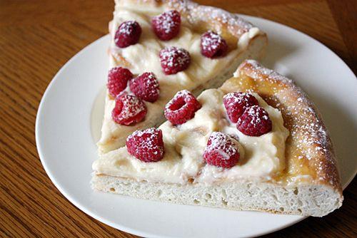 Raspberry Mascarpone Dessert Pizza