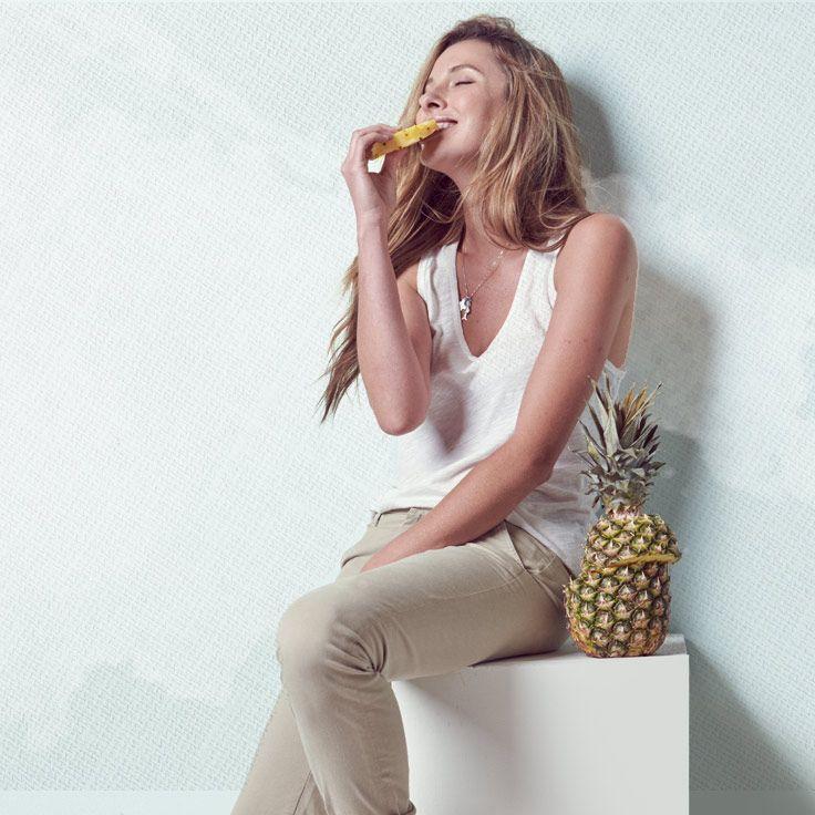 Snackin' on pineapple.