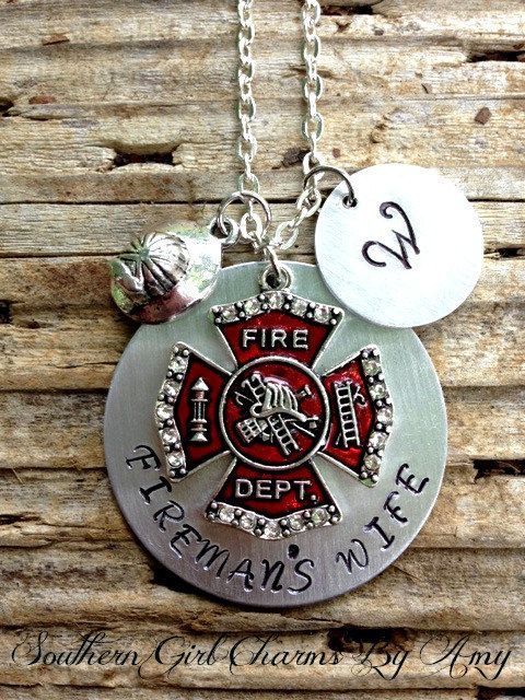 stamped charm and belongs a unit hand my wife heart products for to girlfriend ffcharm necklace firefighter grande