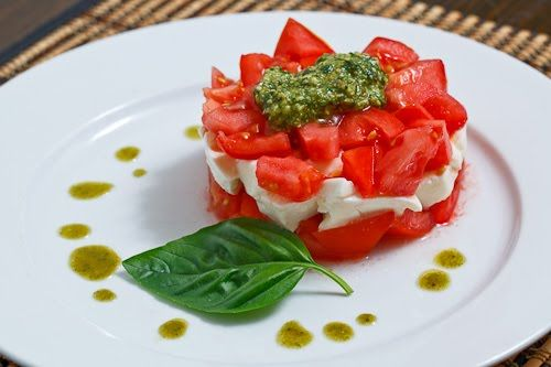 Diced Caprese Salad With A Pesto Dressing Recipe — Dishmaps