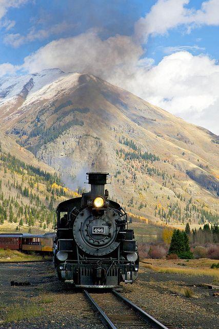 Steam train, Colorado. Love those mountains.