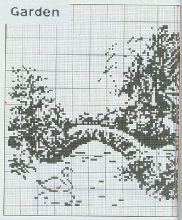 Вышивка крестом монохром пейзаж схемы 362
