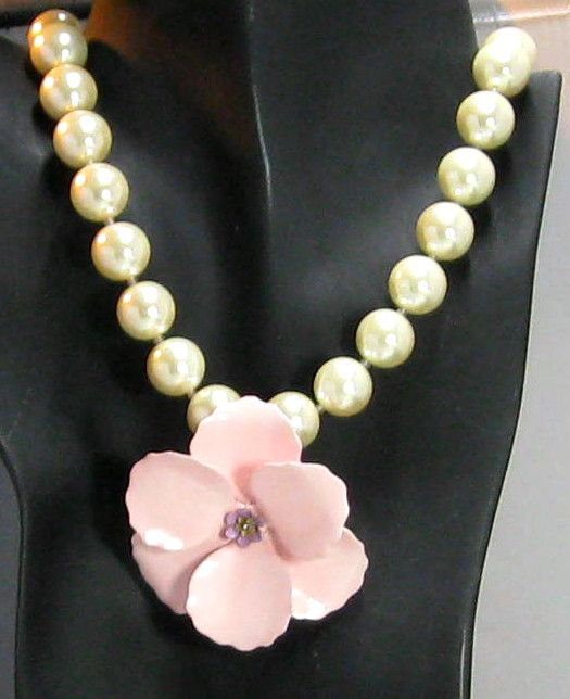 Pearl and Enamel Pink Poppy Statement Necklace