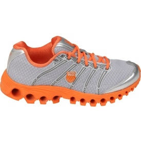silver/orange running shoes