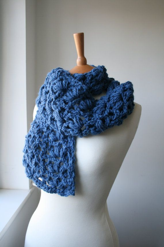 Crochet Xxl Patterns : Crochet patterns, Scarf crochet pattern, super chunky lace scarf XXL ...