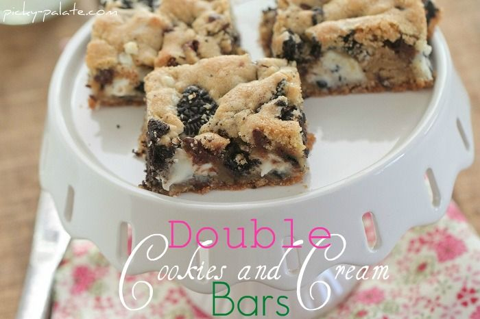 Double Cookies and Cream Kiss Cookie Bars! www.picky-palate.com OMG ...