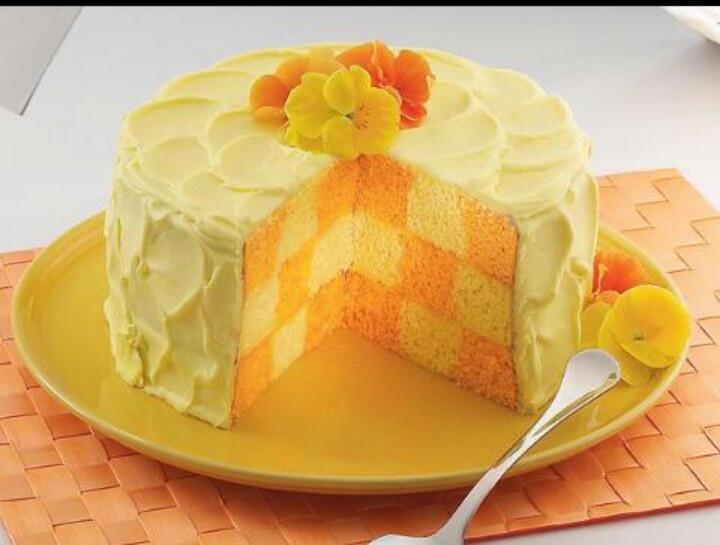 orange flavored orange checkered cake | FOOD! | Pinterest