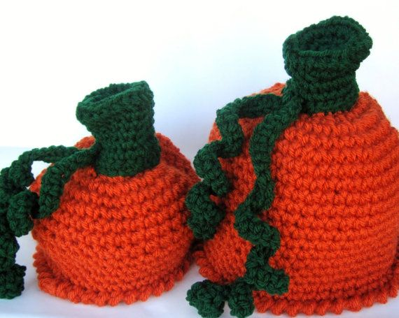 Easy Crochet Pattern For A Baby Hat : Crochet Pattern Halloween Costume Pumpkin Hat - Infant or ...