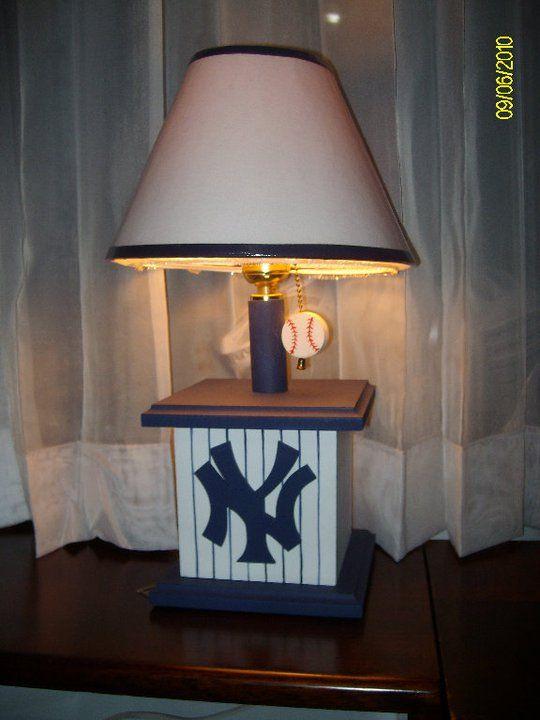 new york yankees table lamp for kids room decor lightning