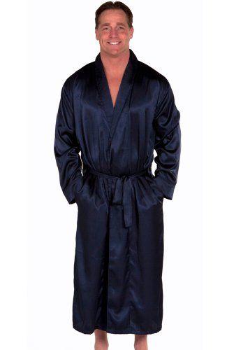 Blue Mens Satin Robe