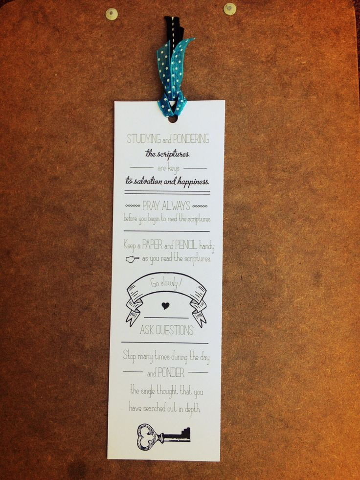 Scripture Bookmark with suggestions for better scripture study.