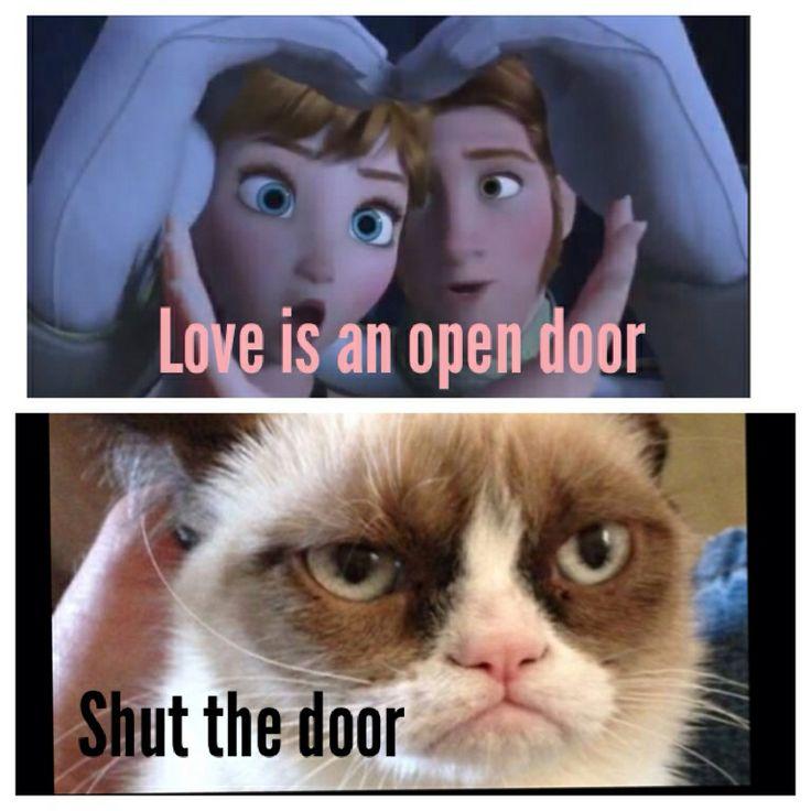 Grumpy Cat Love with an Open Door Is Frozen