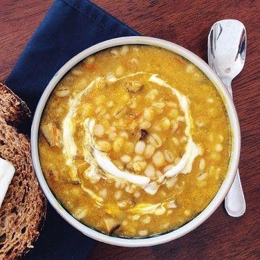 Lemony Yellow Tomato Soup with Shiitake Mushrooms and Barley recipe on ...
