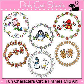 Borders - Fun Characters Winter and Christmas Circle Frames - Commerc ...