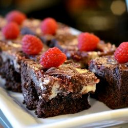 Dark Chocolate Brownies with a cream cheese and raspberry swirl