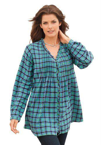roamans plus size jane flannel bigshirt blouses