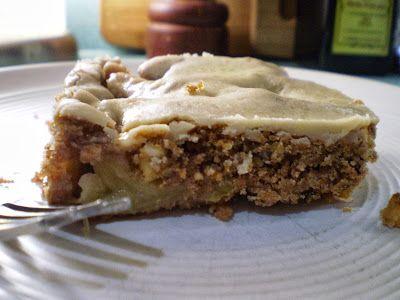 Vegan Thyme: Vegan Apple Cake with Caramel Glaze (Apple Pickin' in Fresh-off-the-Knitting-Needles Eyelet Raglan Cardi!)