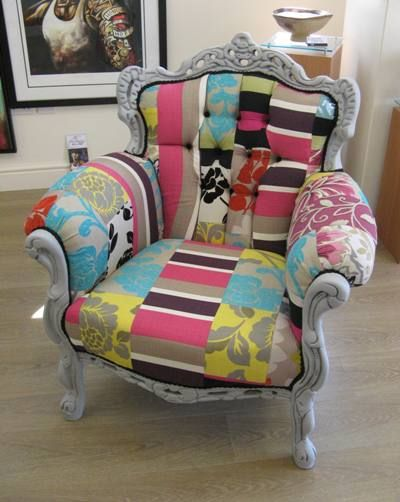 Upcycled chair with fabric scraps