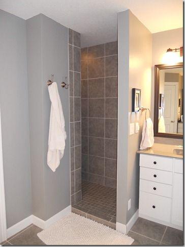 Pin by nancy felke on bathrooms pinterest - Walk in shower no door ...