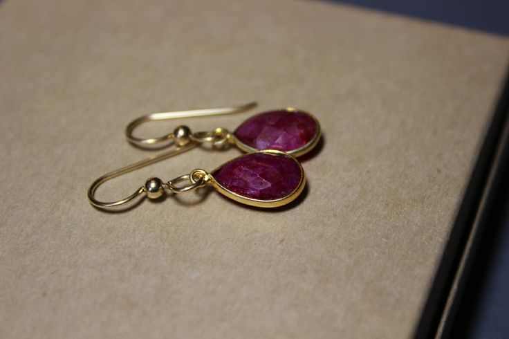 40th Wedding Anniversary Gift Jewelry : Red Ruby Gold Fill 14K Briolette Ruby Earrings, 40Th Anniversary gift ...