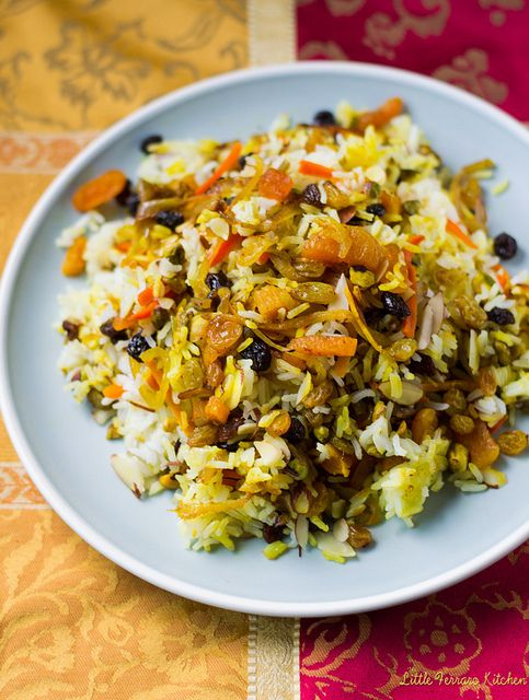 Saffron Fried Rice With Dried Apricots And Almonds Recipe ...