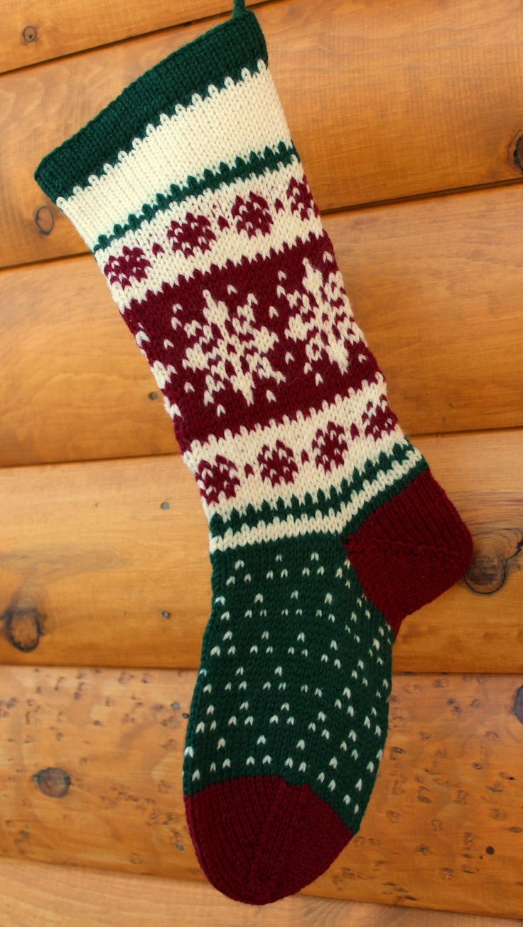 Hand Knit Christmas Stocking Patterns : Hand Knit Christmas Stocking