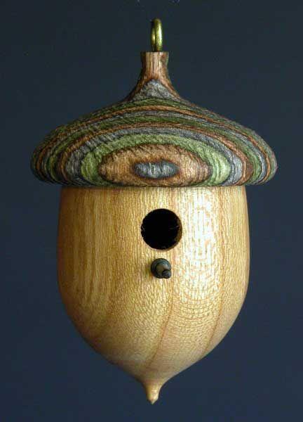Lathe turned acorn birdhouse bird feeders baths and for Acorn house designs