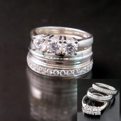 Stacked Wedding Ring Set Beach Bling Pinterest