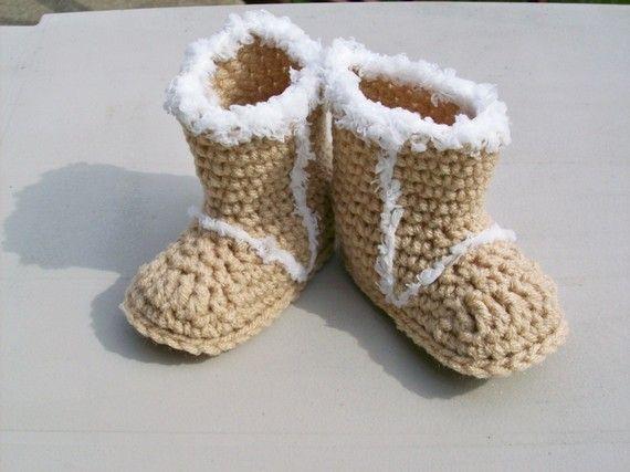 Crochet Uggs : Baby Snow Booties Beige Crochet Uggs Style by TwentySecondStreet