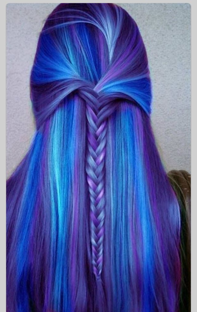 purple and blue awesome hair color