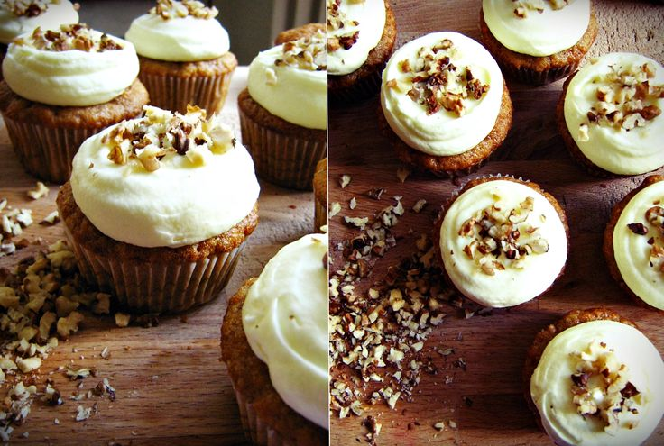 Carrot Cupcakes with Mascarpone frosting and crushed nuts.