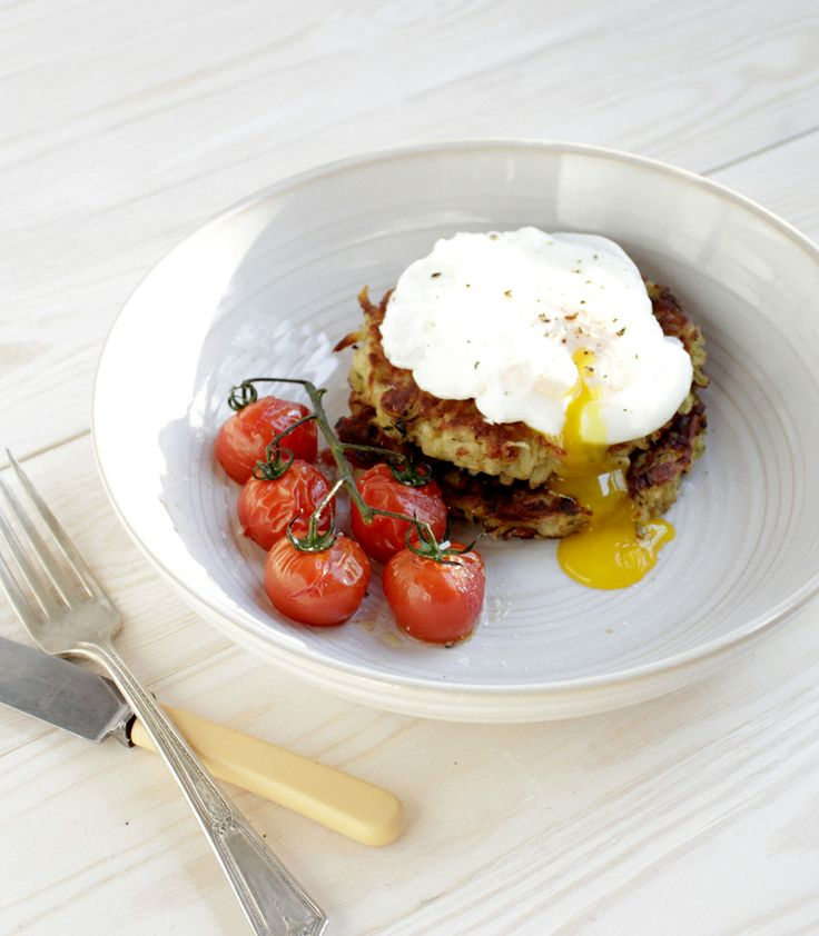 Poached Eggs With Bacon Polenta And Cherry Tomatoes Recipes ...