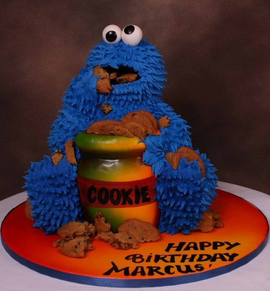 cookie monster cake decorating ideas