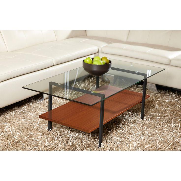 Jesper Occasional Modern Glass Coffee Table with Shelf