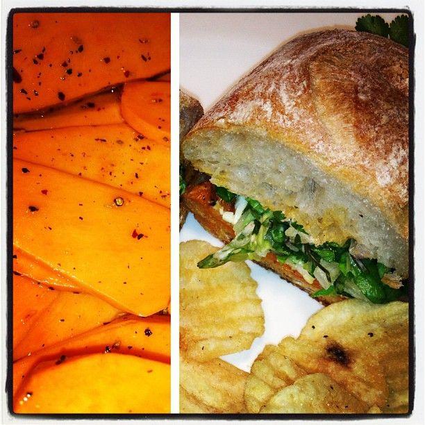 roasted yam sandwich with sirracha mayo and cilantro slaw