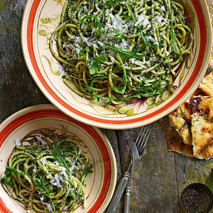 Spaghetti with Arugula Pesto | pasta recipes | Pinterest