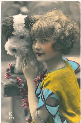 Vintage Tinted Postcard ~ Girl w/Dog