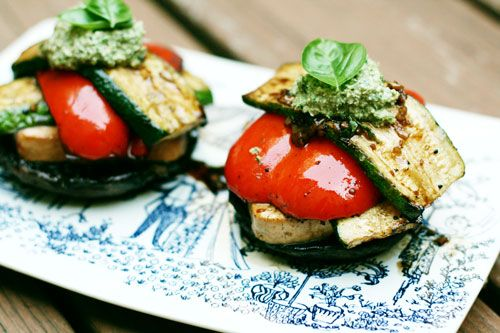 Grilled Tofu Stacks With Pesto & Grilled Vegetables Recipes ...