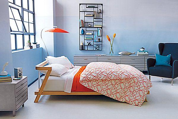 Fascinating Modern Bedding for Modern Bedroom: Colorful Orange Modern Bedding Finds Light Blue Bedroom Wallpaint