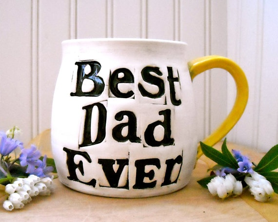 Fathers Day Mug  BEST Dad EVER  HandMade Painted by LoveArtWorks, $46.00