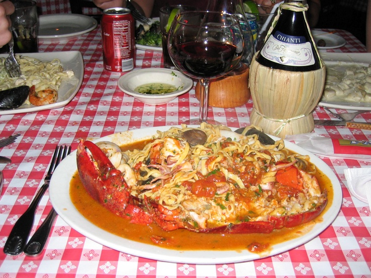 Lobster Fra Diavolo Stuffed with calamari, mussels, shrimp, clams and ...