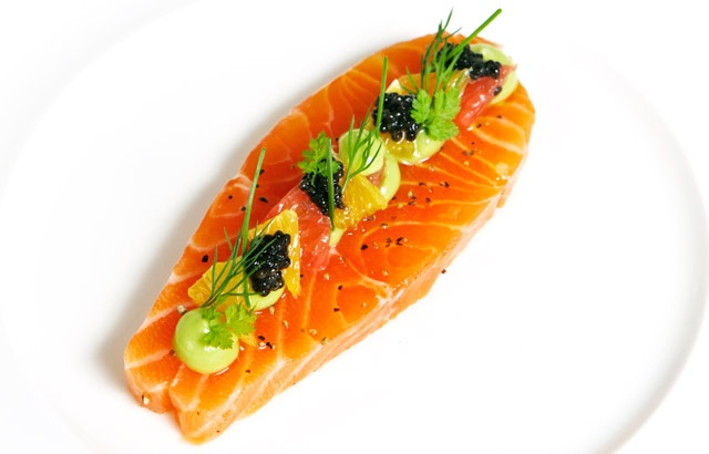 Citrus cured salmon with avocado purée and caviar - Adam Bennett