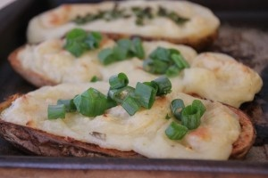 Twice-Baked Potatoes with Roasted Garlic | Edibles | Pinterest