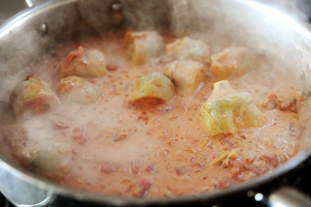 Pasta with tomato-artichoke-heart-cream sauce (I added langoustine ...