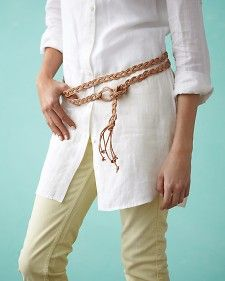 For this hip-slung sash, we used 20 1/3 yards of leather cord, cut into 3 equal pieces. This will make an 84-inch-long belt; size up or down accordingly.
