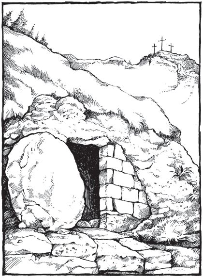 Empty tomb inkspiration pinterest for Coloring pages of jesus empty tomb