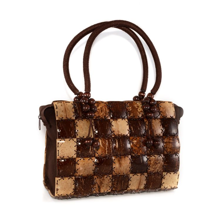Liquidation Channel | Brown Thai Coconut Shell Handbag with Mango Wood Handle